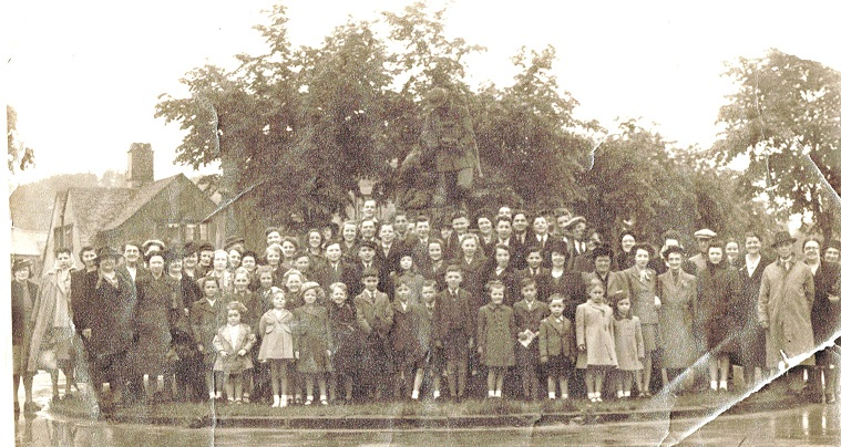 Picture of the women and children of the village going on an outing in the Fifties.